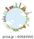 世界の有名な建築物(遺跡・建物・世界遺産)カラー円形バナー  / 海外旅行 (中心部・水と雲) 60684900