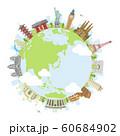 世界の有名な建築物(遺跡・建物・世界遺産)カラー円形バナー  / 海外旅行 (地球) 60684902