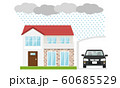家 台風 雨 車 カーポート 60685529