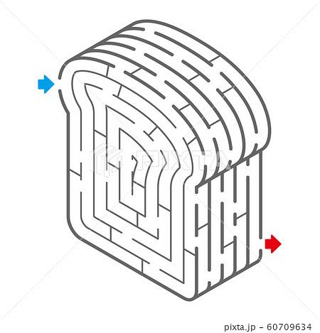 食パンのアイソメトリック迷路(塗り絵) 60709634