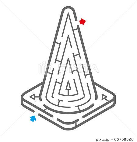 三角コーンのアイソメトリック迷路(塗り絵) 60709636
