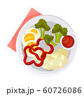 Breakfast Plate with Healthy Vegetables with Boiled Eggs Served on White Plate Vector Illustration 60726086