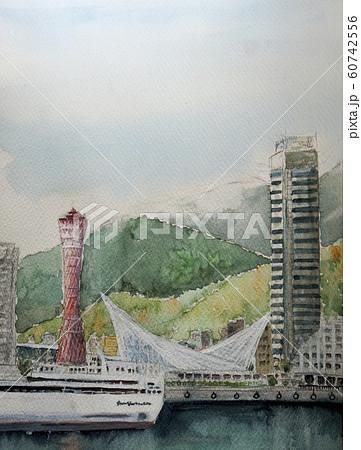 神戸ハーバーランドのスケッチ ポートタワー 神戸の夜景 60742556
