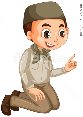 Muslim boy in safari outfit on isolated background 60769780