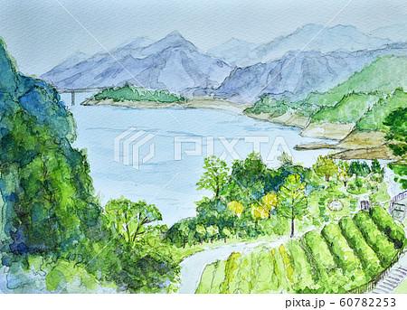 宮ケ瀬湖 水彩 60782253