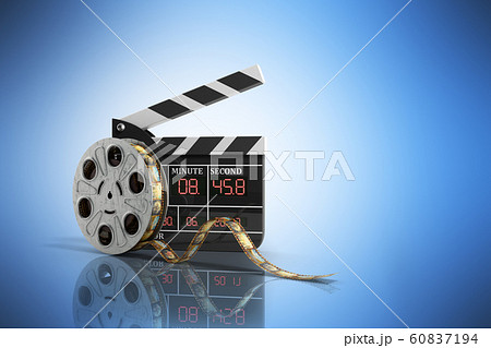 movie clapper board high quality 3d render on blue 60837194