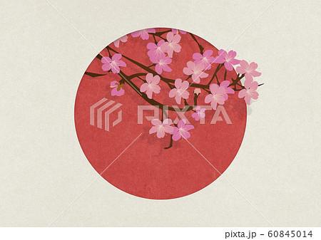 日本国旗-さくら-和紙の風合い 60845014
