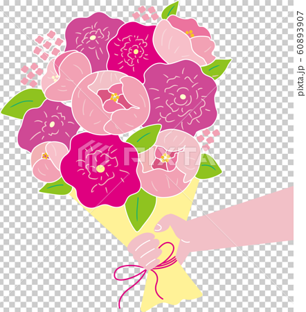 Hand with bouquet. Editable vector illustration. Tell love and thanks on Valentine's Day and Mother's Day. 60893907