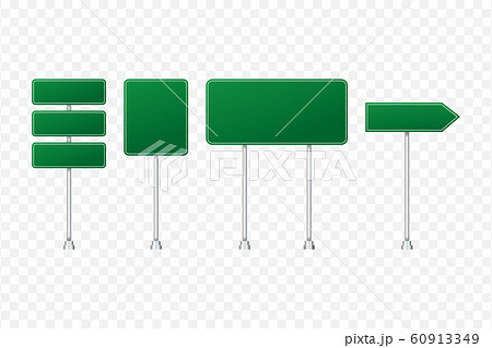 Set of road signs isolated on transparent 60913349