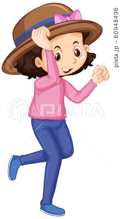 Happy girl in pink shirt on white background 60948496