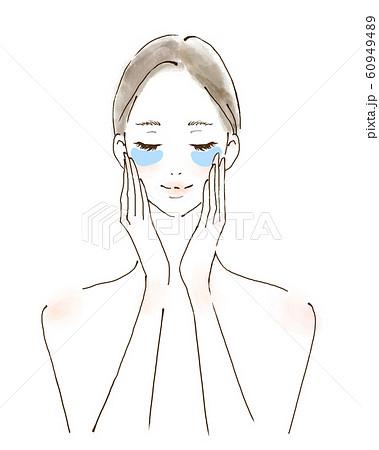 目元のケアをする女性 しわ しみ予防 人物イラスト 手描き 60949489