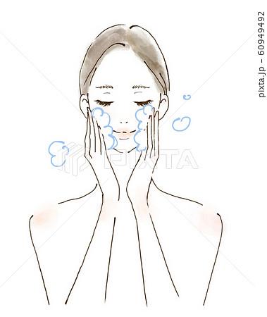 洗顔 泡立てる クレンジング 化粧を落とす女性 美容 水彩風のイラスト 60949492