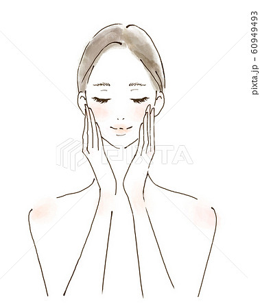 美容 スキンケアをする女性 笑顔でハンドプレス 60949493