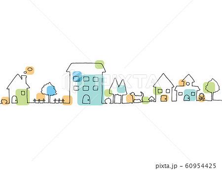 町並みカラー 手描き線画 60954425