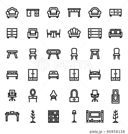 Furniture Icon Set 36 - Editable stroke. 48x48 Pixel Perfect.  60958138