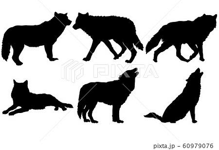 動物シルエット野生オオカミのイラスト素材