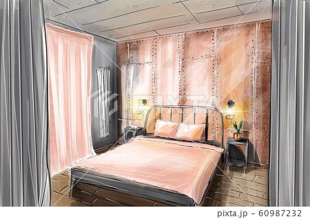 Hand drawn sketch of a pink bedroom 60987232