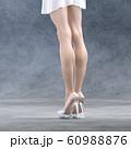 ガラスの靴を履いた美脚の女性 perming3DCG  イラスト素材 60988876