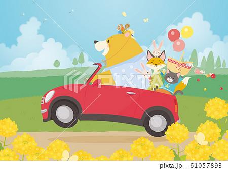 かわいい動物の春のドライブ 61057893
