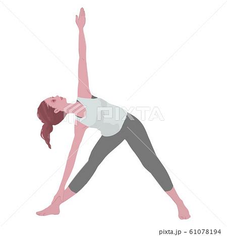 ヨガ 三角のポーズをとる女性のイラスト 61078194