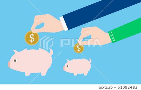 本業と副業のイメージ、お金と貯金箱 61092483