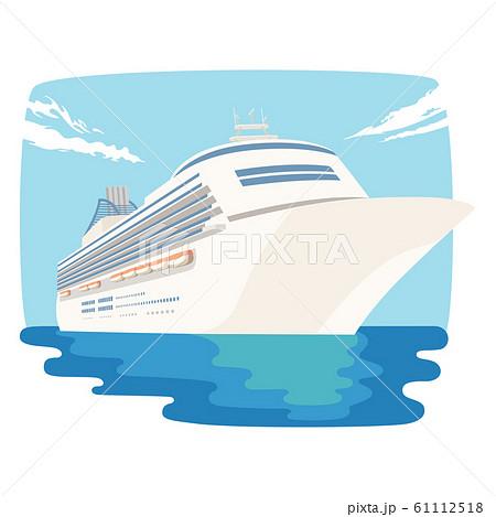 船のイラスト。広い世界の海を旅する豪華客船。 61112518