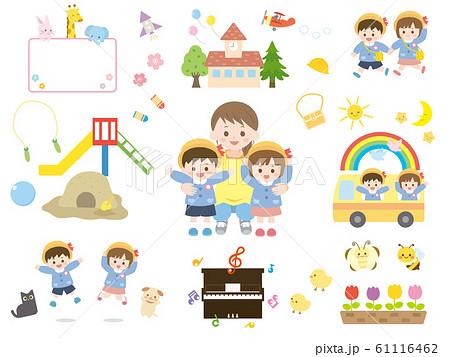 かわいい園児と先生のイラスト素材 61116462