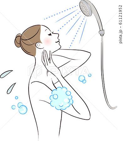 シャワーを浴びる女性 61121952