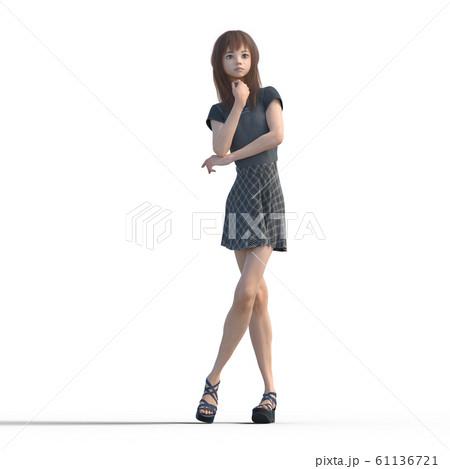 ポーズするカジュアルファッションの女性 perming3DCGイラスト素材 61136721