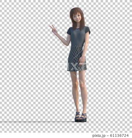 ポーズするカジュアルファッションの女性 perming3DCGイラスト素材 61136724