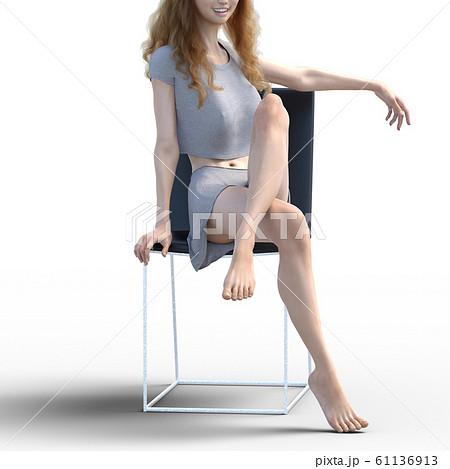 美しい脚の女性 perming3DCG イラスト素材 61136913