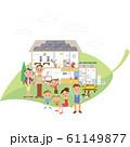 葉に乗ったエコ発電の家と三世代家族 61149877