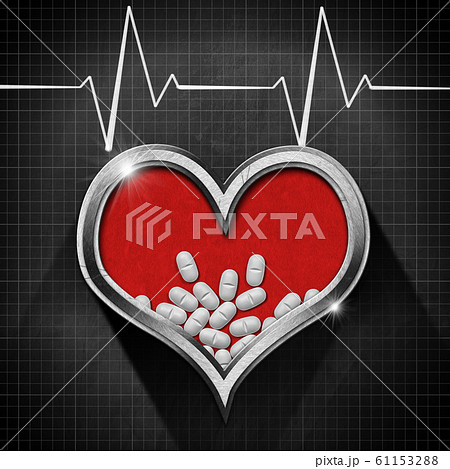 White pills in a red heart and blackboard with electrocardiogram 61153288