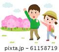 花見 ハイキング 桜 カップル イラスト 61158719