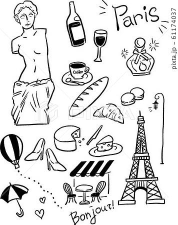 フランス パリ ベクター 線画 イラスト おしゃれ 61174037