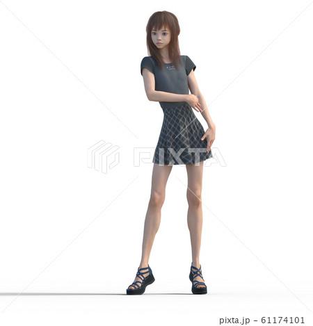 ポーズするカジュアルファッションの女性 perming3DCGイラスト素材 61174101