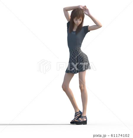 ポーズするカジュアルファッションの女性 perming3DCGイラスト素材 61174102