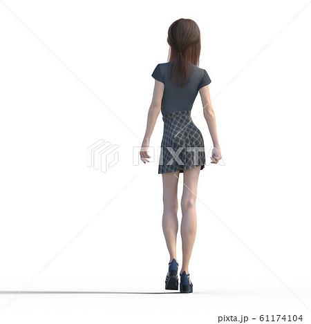 ポーズするカジュアルファッションの女性 perming3DCGイラスト素材 61174104