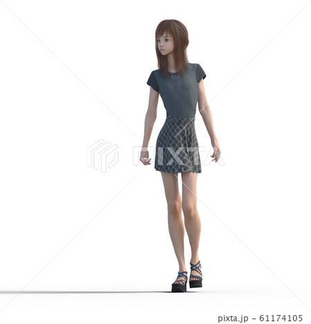 ポーズするカジュアルファッションの女性 perming3DCGイラスト素材 61174105