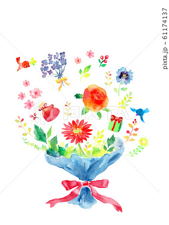 花束 プレゼント イラスト 水彩 61174137
