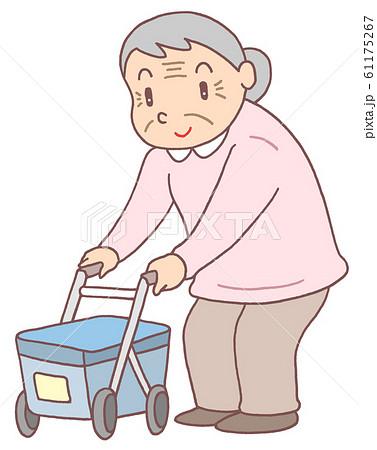 介護用品歩行器・お婆さん 61175267