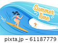 Summer Time Banner with Woman Surfing on Waves 61187779