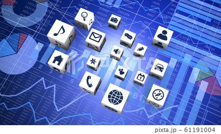 ビジネスチャートとキューブ型のアプリケーション 61191004