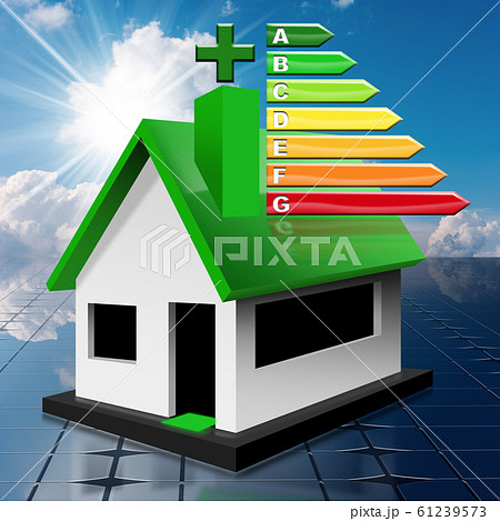 House Energy Efficiency Rating - Residential building on a solar panel 61239573