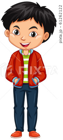 Boy in red jacket on white background 61262122