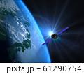 日本 JAPAN 地球 ライジングサン 宇宙 人工衛星 CG  61290754