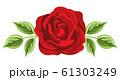 バラの花 葉っぱつき 61303249
