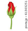 バラの花 つぼみ 切り花 赤 61303251