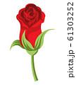 バラの花 開きかけ つぼみ 切り花 赤色 61303252
