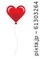 ハート型の風船 赤 61303264